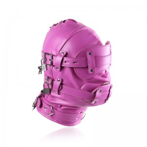 Pink Color Bondage Hood BDSM Leather Muzzle Mask Gimp with Detachable Eye Pad Penis Mouth Gag