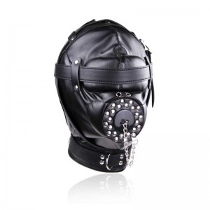 Bondage Gear Hood Full Cover Muzzle Zentai Mask with Detachable Mouth Gag
