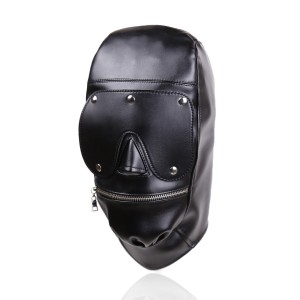 New Design Bondage Gear Hood Muzzle Harness Detachable Eye Pad Leather Mask with Zipper