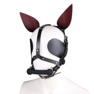 Bondage Gear Puppy Muzzle Hood with Long Ears Bone Shape Mouth Gag Eye Pads Mask