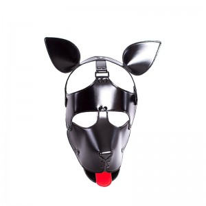 New Design Dog Shape Muzzle Puppy Mask with Head Bondage Hood for Male Female Fetish