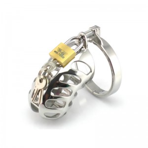Male Chastity Device New Design Penis Lock Scrotum Ring Cock Cage Metal Steel