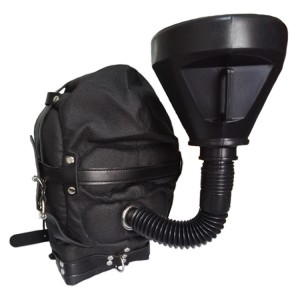 BDSM Funnel Mouth Gag Urine Irrigation Hood Leather Muzzle Open Mouth Feeding Irrigating System