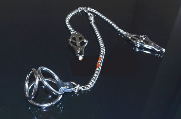 Clover Nipple Clamps with Three-ring Penis