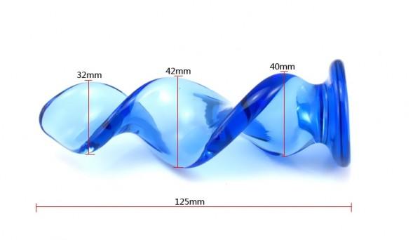 blue spiral dildo, spiral glass dildo, spiral pyrex dildo