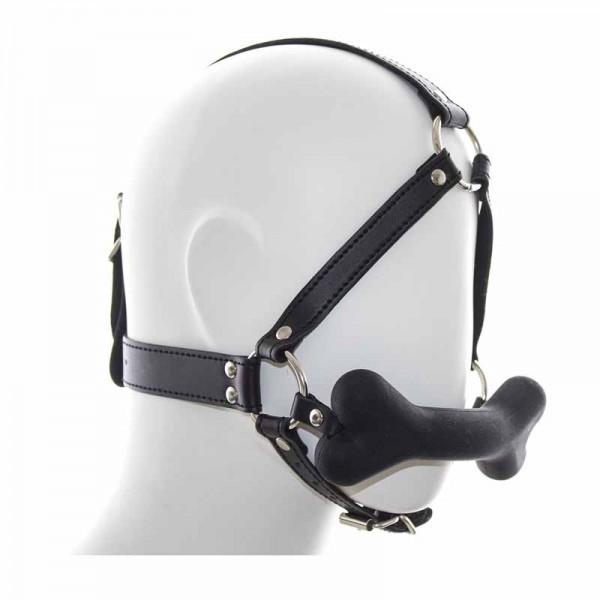 silicone ball gag harness, bone ball gag harness, bone mouth gag harness