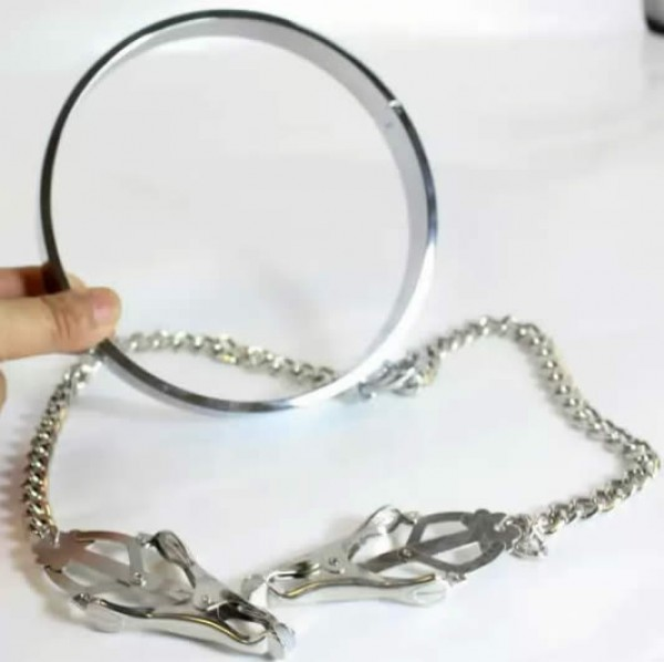 male metal collar, collar with nipple clamp