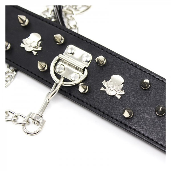 studded bondage collar, spike bondage collar, spike leather collar