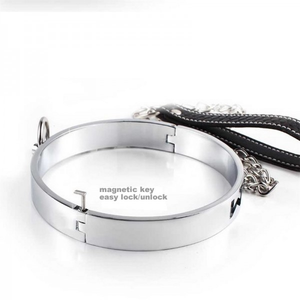 Metal neck collar, steel bondage collar, collar with leash