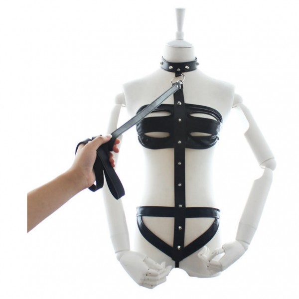 leather body harness, body harness leash, new design bondage gear