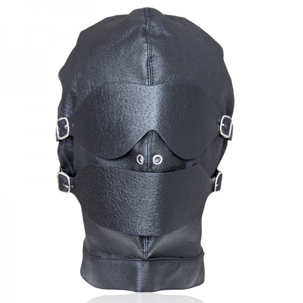 classic leather bondage hood for sexual play.