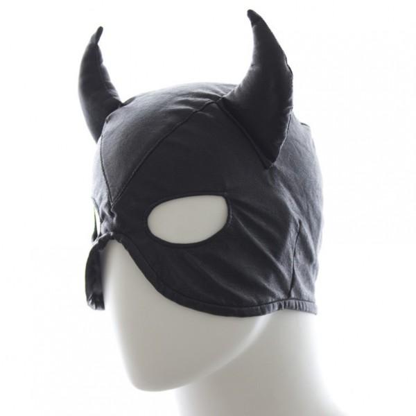 leather devil mask, bondage devil mask, devil mask costume