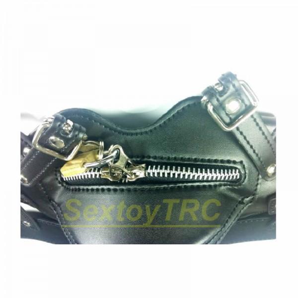 new design bondage hood, leather bondage hood, leather hood harness