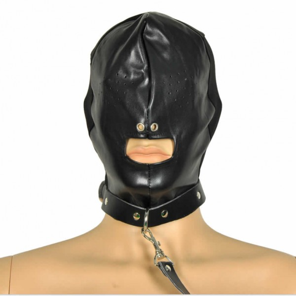 mask with leash, bondage mask leash, bondage hood leash