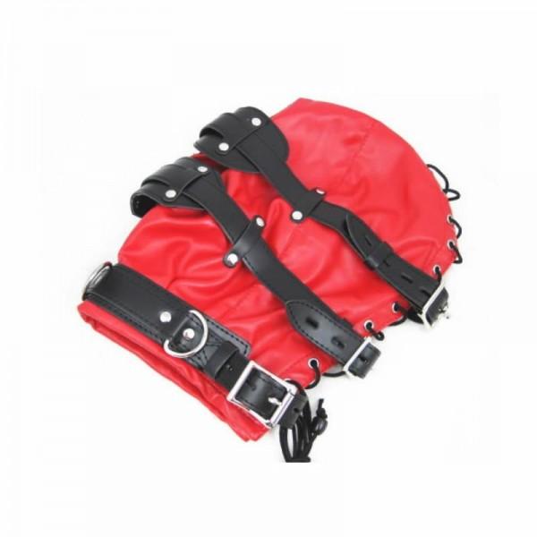red bondage hood, red bondage muzzle, red bdsm hood