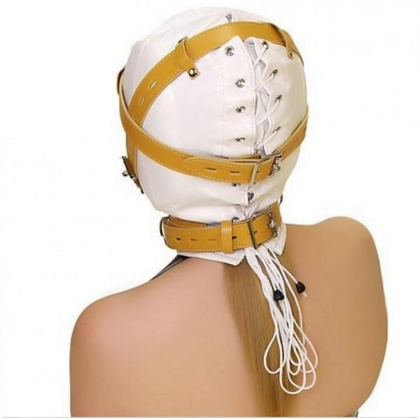 White Bondage Hood, white bondage gear, new design bondage hood
