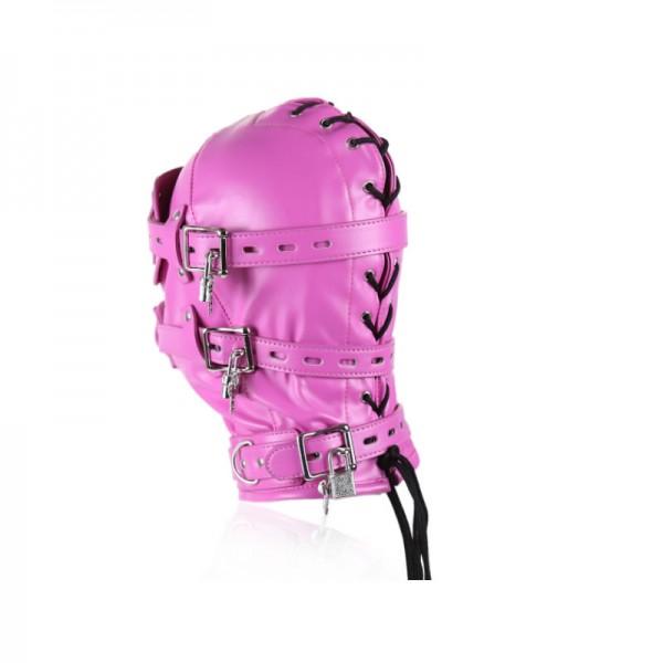pink bondage hood, pink bondage muzzle, pink leather hood