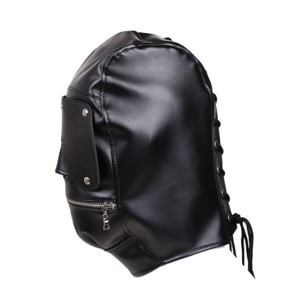 Zipper bondage hood, zippered bdsm hood, zipper leather hood