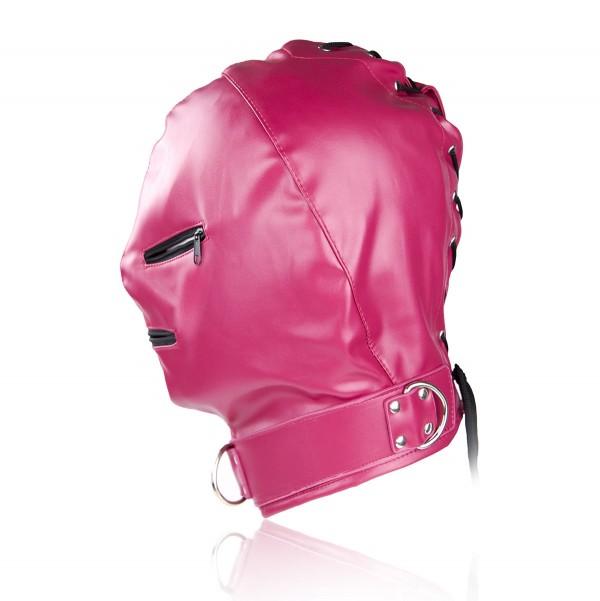 Rose bondage hood, pink bondage mask, sexual rose hood
