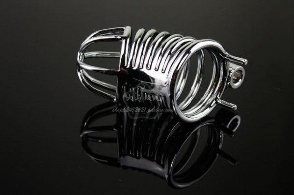 steel male chastity belt.