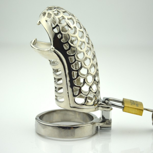 male chastity device, snake head cock cage, steel chastity device
