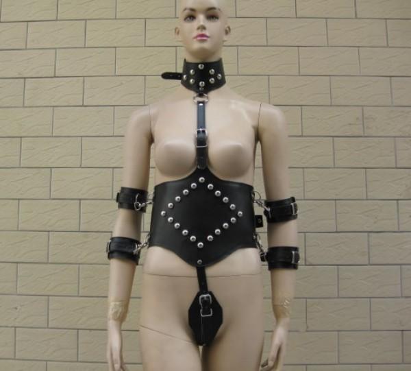 waist and wrist bondage gear set.