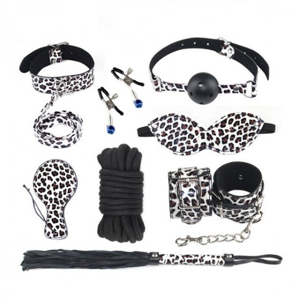 Leopard bondage set, leopard bondage gear, leopard leather costume