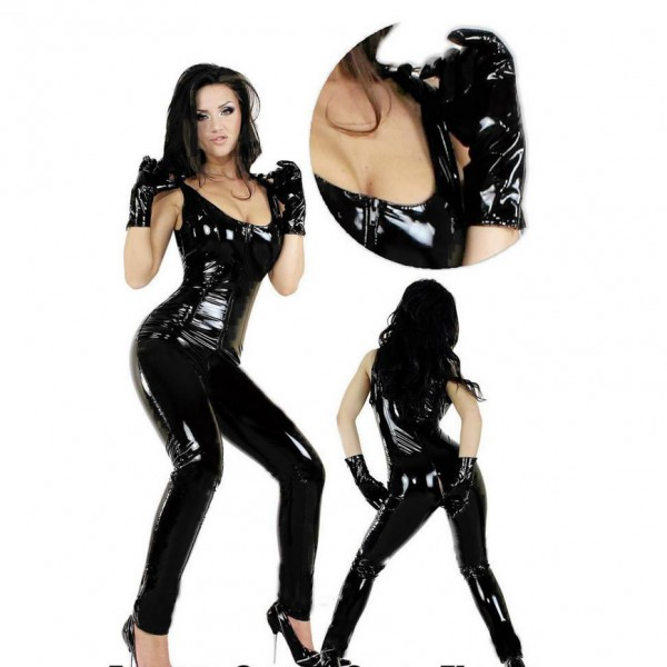 sexy leather bodysuit, sexy leather costume, open crotch costume