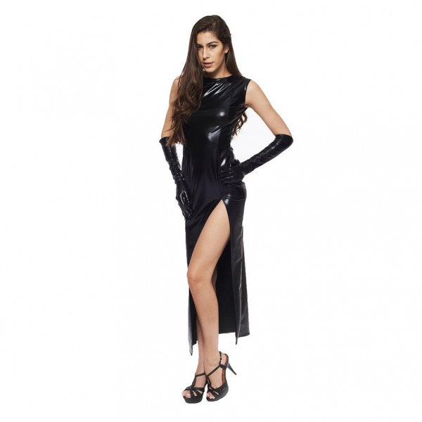 sexy leather long skirt, sexy PVC costume, leather dominatrix costume