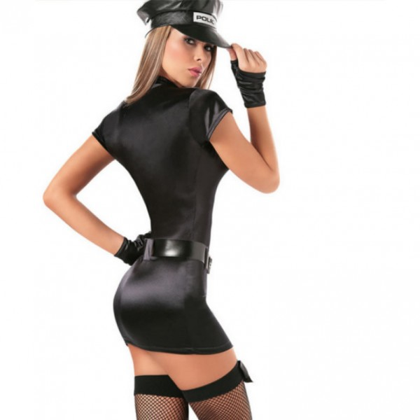 police woman costume, sexy leather costume, sexy policewoman costume